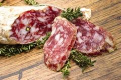 片式从意大利的salame 免版税库存照片
