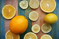 片式柠檬和桔子 库存图片