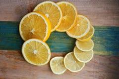 片式柠檬和桔子 免版税库存图片