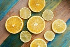 片式柠檬和桔子 免版税图库摄影