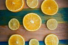 片式柠檬和桔子 免版税库存照片