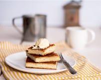 片断乳酪蛋糕和奶油 免版税库存照片
