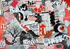 片断杂志心情板在红色白色的和黑 免版税库存照片