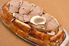 片断被烘烤的羊羔肉 免版税库存照片