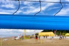 片段在海滩的排球网 免版税库存图片