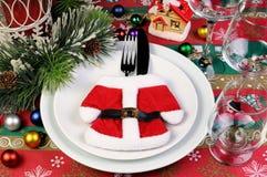 片段服务圣诞节桌 免版税库存图片