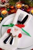 片段服务圣诞节桌 库存照片
