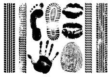 版本记录集合证据 Handprint,脚印,指纹,嘴唇,轮胎轨道的印刷品 被隔绝的剪影传染媒介 皇族释放例证