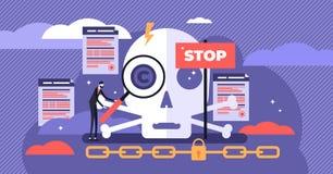 版权传染媒介例证 平的微小的法律作者工作人概念 向量例证