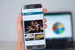 版权网站  在手机屏幕的gov 免版税库存图片