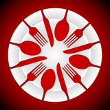 牌照和刀叉餐具形状 向量例证