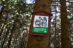 牌警告关于熊和狼 免版税库存图片