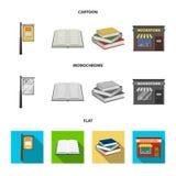 牌,书店,堆书,一本开放书 一个图书馆和书店集合汇集象在动画片,平 库存照片
