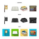 牌,书店,堆书,一本开放书 一个图书馆和书店集合汇集象在动画片 图库摄影
