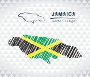 牙买加与在白色背景隔绝的旗子里面的传染媒介地图 剪影白垩手拉的例证 库存例证