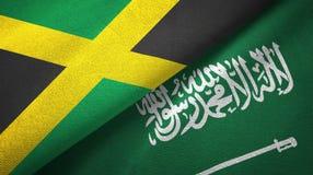 牙买加和沙特阿拉伯旗子纺织品布料 库存例证