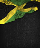 牙买加在一个难看的东西黑色黑板的旗子葡萄酒有空间的为 库存例证