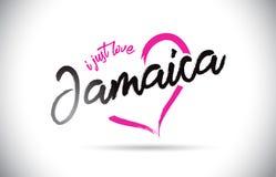 牙买加我爱与手写的字体和桃红色心形的词文本 库存例证