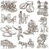 牙买加旅行-在白色的大型手拉的组装 库存照片