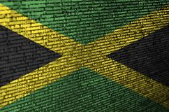 牙买加旗子在有节目代码的屏幕上被描述 现代技术和地点发展的概念 向量例证