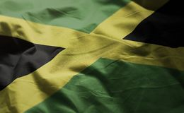 牙买加旗子起皱了接近  库存图片