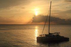 牙买加日落 加勒比海 库存照片