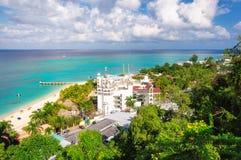 牙买加海滩,蒙特哥贝 免版税库存照片