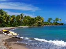 牙买加 在含沙海岸的一条全国小船 免版税库存照片