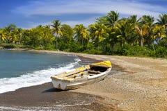 牙买加 在含沙海岸的一条全国小船 图库摄影