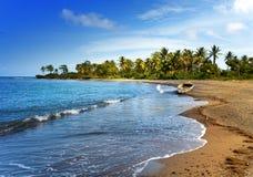 牙买加 海湾小船海岸日牙买加横向国家含沙晴朗 免版税图库摄影
