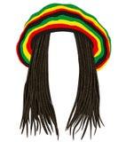 牙买加rasta帽子 头发dreadlocks 雷鬼摇摆乐 滑稽的具体化 库存例证