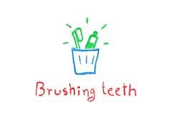牙刷和牙膏在玻璃掠过的牙的-蜡笔画 免版税库存图片