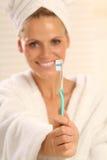 牙刷妇女 库存照片