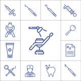 牙医工具或辅助部件线性象se 免版税库存照片