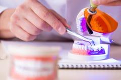 牙医运转的牙植入管在医学实验室 库存图片
