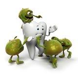 牙和细菌字符 免版税库存照片