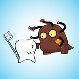 牙和细菌对峙 库存图片