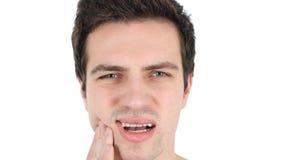 牙痛,人在痛苦中 库存照片