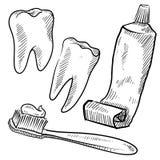 牙科医生反对草图 向量例证