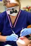 牙科卫生师工作 免版税库存图片