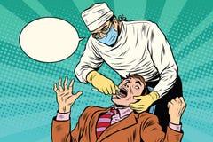 牙科医生拔出一颗坏牙 向量例证
