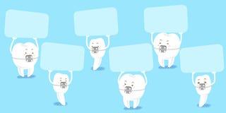牙穿戴括号作为广告牌 库存图片