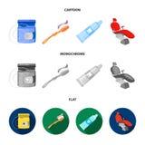 牙线,牙刷,牙膏,牙齿椅子 在动画片,平,单色样式的牙齿保护集合汇集象 图库摄影