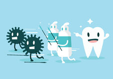 牙膏保护牙免受毒菌 字符滤网集合向量 库存照片