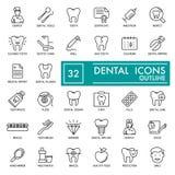 牙齿传染媒介稀薄的线被设置的象 对网站、商标、广告、促进材料,贴纸等 10 eps 库存照片