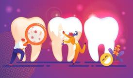 牙齿保护微小的人字符概念 牙 向量例证