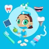 牙齿保护标志 牙牙齿保护嘴健康设置了与检查牙医治疗 免版税库存照片