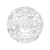 牙齿保护概念在变薄平的例证 库存例证