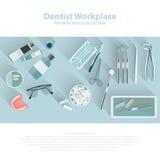 牙齿保护设备标志 牙牙科关心嘴健康设置了与检查牙医治疗 向量 免版税库存照片