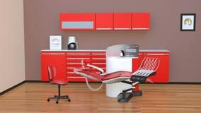 牙齿办公室内部用红色单位设备和内阁 库存例证